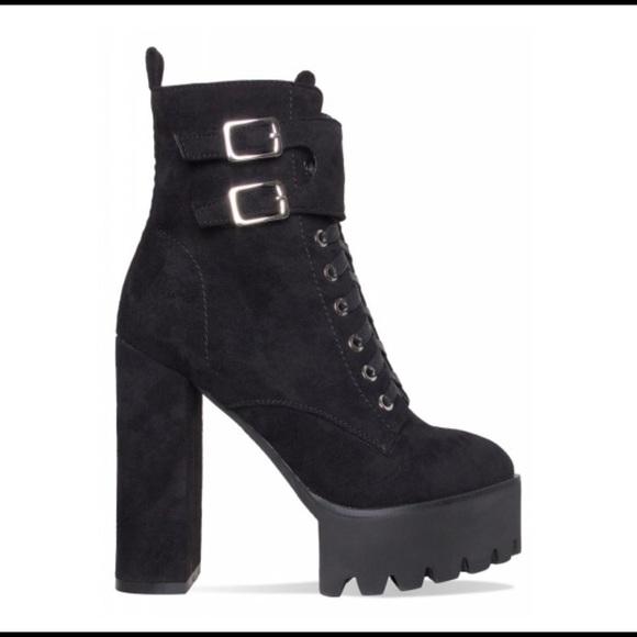 8202d7d70d02c Simmi Shoes Shoes | Lois Black Suede Lace Up Platform Ankle Boots ...